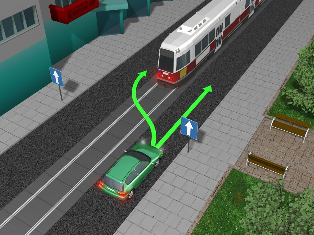 tramwaj - wyprzedzanie z prawej strony